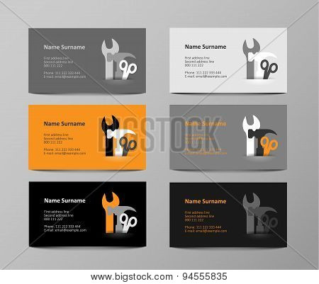 Set Of Gray And Orange Business Cards, Illustration