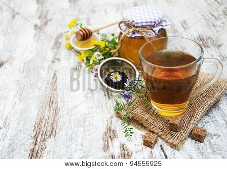 Cup Of Tea, Honey And Flowers