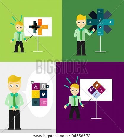 Young businessman presents his modern option infographic diagram. Set of illustrations. Vector flat design