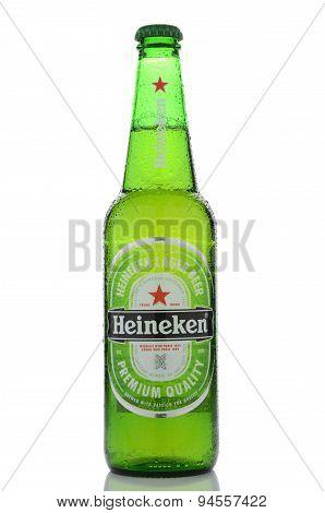 Heineken lager beer isolated on white background
