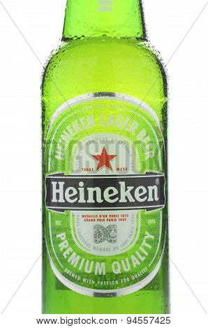Heineken lager beer isolated on white background
