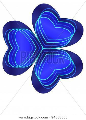 Blue shamrock with four neon hearts inside