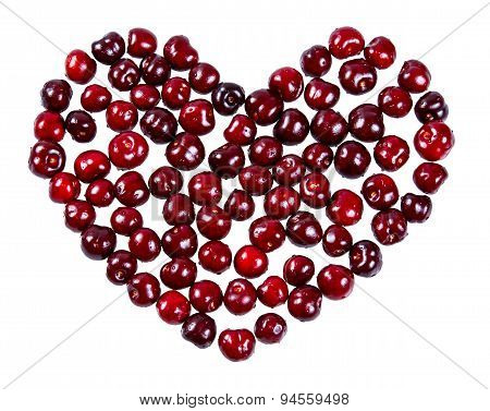 Heart Made Of Cherries Isolated On White Background