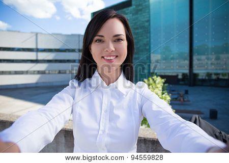 Beautiful Business Woman Making Selfie Photo