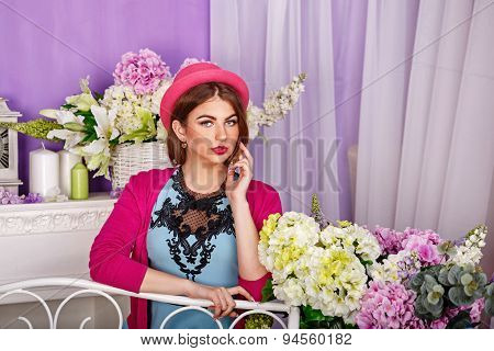 Mysterious Girl Surrounded By Flowers