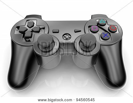 Black Gamepad Isolated On A White Background