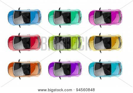 Collection Of Generic Colorful City Cars