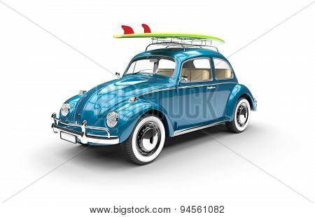 Old Blue Car With Surfboard