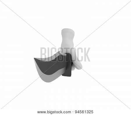 Hand In A White Glove Holding A Knife. 3D Render. White Background.