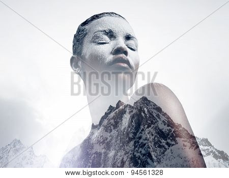 Black Woman Covered By White Powder Double Exposure With A Mountain