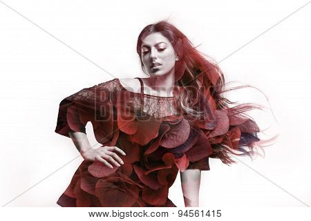 Plus Size Model With A Blowing Hair Double Exposure With Red Flowers