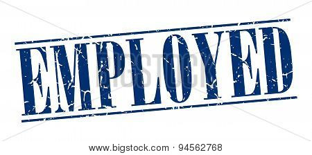 Employed Blue Grunge Vintage Stamp Isolated On White Background