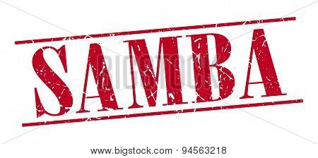 Samba Red Grunge Vintage Stamp Isolated On White Background