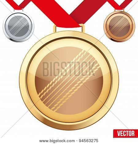 Gold Medal with the symbol of a cricket inside
