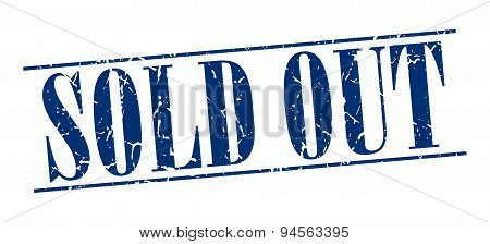Sold Out Blue Grunge Vintage Stamp Isolated On White Background