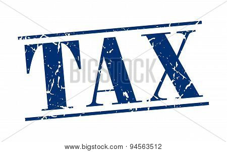 Tax Blue Grunge Vintage Stamp Isolated On White Background