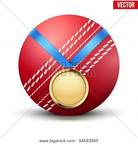 Sport gold medal with ribbon for winning of cricket game