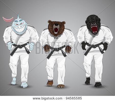 set of cartoon sports man-shark,man-bear and man-gorilla.