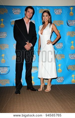 LOS ANGELES - JUN 25:  Drew Roy, Lindsey Morgan at the 41st Annual Saturn Awards Press Room at the The Castaways on June 25, 2015 in Burbank, CA