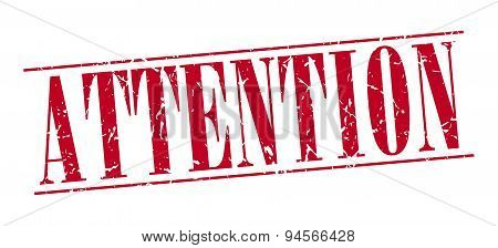 Attention Red Grunge Vintage Stamp Isolated On White Background