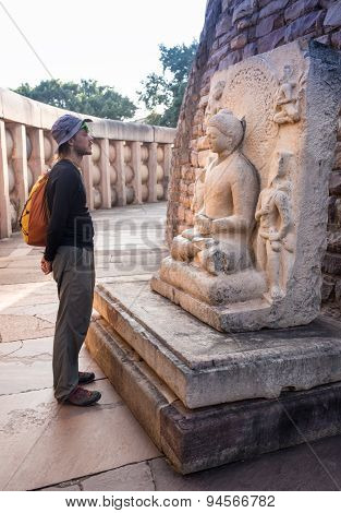 Travelers in the Indian temple