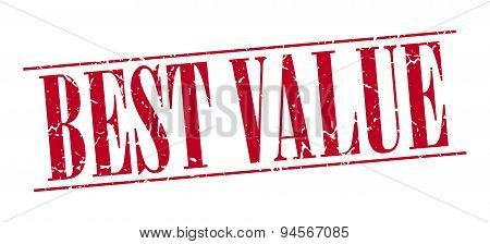 Best Value Red Grunge Vintage Stamp Isolated On White Background