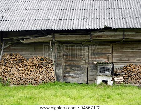 Old cattle-shed and rabbit-hutch
