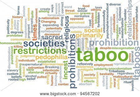 Background concept wordcloud illustration of taboo