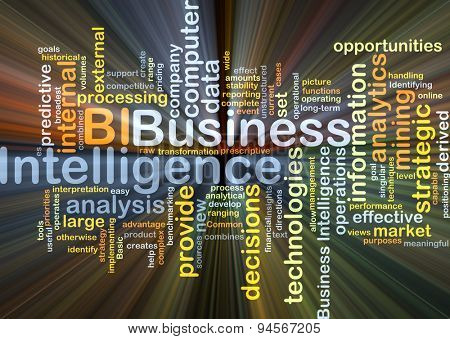 Background concept wordcloud illustration of business intelligence BI glowing light