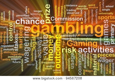 Background concept wordcloud illustration of gambling glowing light