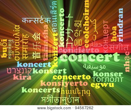 Background concept wordcloud multilanguage international many language illustration of concert glowing light