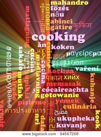 Background concept wordcloud multilanguage international many language illustration of cooking glowing light