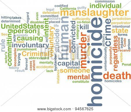 Background concept wordcloud illustration of homicide