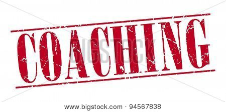 Coaching Red Grunge Vintage Stamp Isolated On White Background
