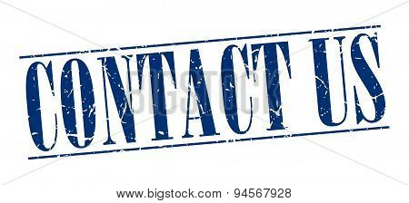 Contact Us Blue Grunge Vintage Stamp Isolated On White Background