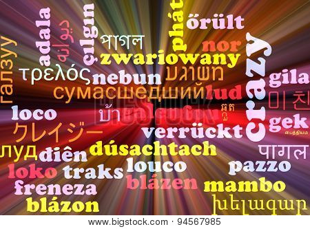 Background concept wordcloud multilanguage international many language illustration of crazy glowing light