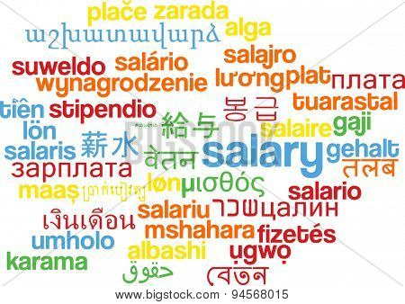 Background concept wordcloud multilanguage international many language illustration of salary