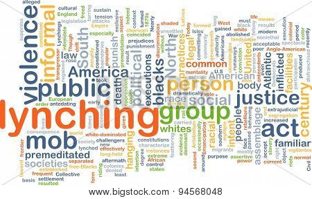 Background concept wordcloud illustration of lynching