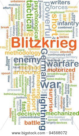 Background concept wordcloud illustration of blitzkrieg