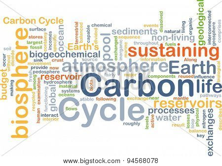 Background concept wordcloud illustration of carbon cycle