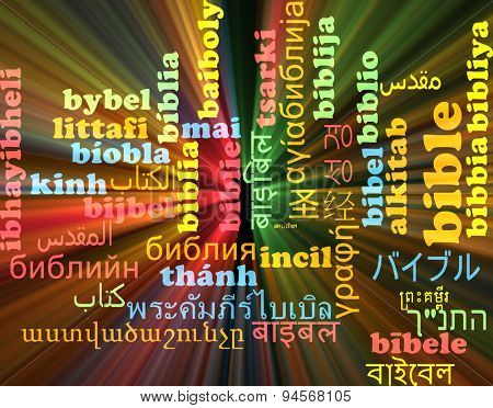 Background concept wordcloud multilanguage international many language illustration of bible glowing light