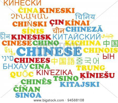 Background concept wordcloud multilanguage international many language illustration of Chinese