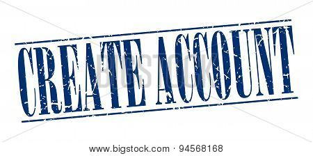 Create Account Blue Grunge Vintage Stamp Isolated On White Background