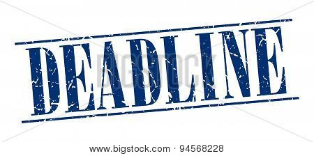 Deadline Blue Grunge Vintage Stamp Isolated On White Background