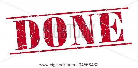 Done Red Grunge Vintage Stamp Isolated On White Background