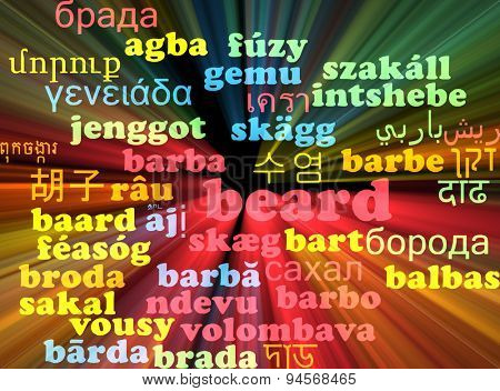 Background concept wordcloud multilanguage international many language illustration of beard glowing light