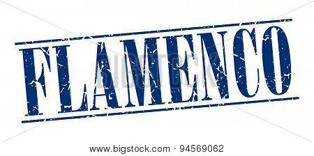 Flamenco Blue Grunge Vintage Stamp Isolated On White Background