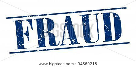 Fraud Blue Grunge Vintage Stamp Isolated On White Background