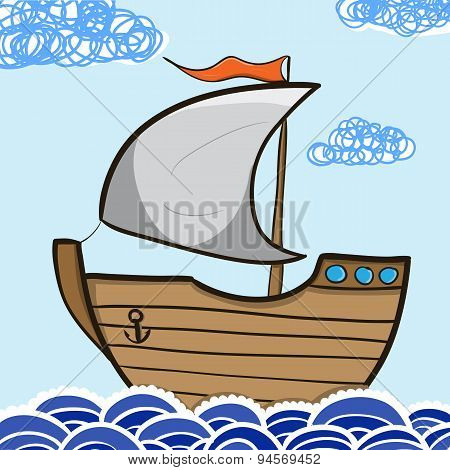 Sailing Ship In The Sea. Vintage Cartoon Sailing Ship. Vector Illustration.