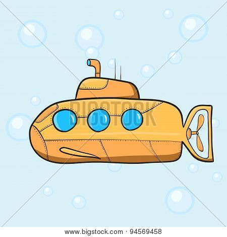 Vintage cartoon submarine. Vector illustration